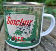 Vintage Distressed Oil Can Sinclair, 12oz Enamel Mug Garage festival camping