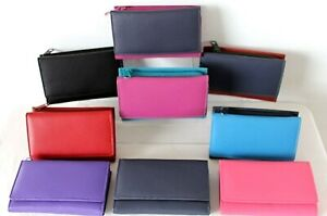 Tri fold Leather Purse & Zipped Coin Pocket Credit Card Various colours Golunski