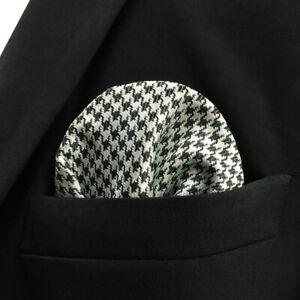"JH20 Houndstooth Black White Mens Pocket Square Business Silk Hanky 12.6"" Large"