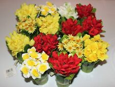 "Lot of 14 Artificial Flower Baskets 7"" Variety Yellow & Red Daffodils & Daisies"