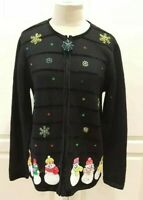Christmas Adorable Hatted Snowmen  Beaded Cardigan Sweater SZ S Quacker Factory