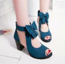 Womens Block High Heels Hollow Out Peep Toe Sandals Bowknots Ankle Boots Blue 8