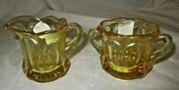 Vintage Imperial Glass Yellow Creamer And Sugar Set # 13540