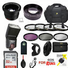 CANON REBEL T5 T6 T3 T6I 32GB 58MM KIT CASE REMOTE FLASH FILTERS ZOOM WIDE ANGLE
