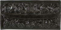 WOMENS TOOLED Wallet MEXICAN Leather Clutch TRI-FOLD TAN BLACK BROWN BURGUNDY