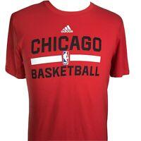 CHICAGO BULLS BASKETBALL NBA ADIDAS CLIMALITE ULTIMATE TEE RED T SHIRT MENS L