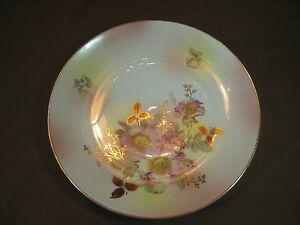 "Schumann Arzberg Bavaria Germany 10 3/8"" Dinner Plate Wild Rose Gold Trim"