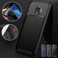 For Motorola Moto G7 G6 Plus Carbon Fiber Rubber Ultra Thin Phone Case Cover