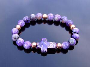 Charoite Jasper Cross Natural Gemstone Bracelet Elasticated 6-9'' Healing Stone