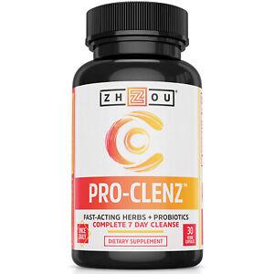Zhou Pro-Clenz | 7 Day Colon Cleanse Detox with Probiotics | 30 Capsules