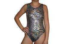 New girls gymnastic leotard metallic silver black zebra