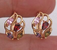 Leaf Ruby Pink Topaz Peridot Earrings Bt 18K Gold Filled Hoop Cubic Hollow Tree
