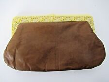 Vintage Brown Leather Clutch Plastic French Kiss Handle Daisies Flower Purse