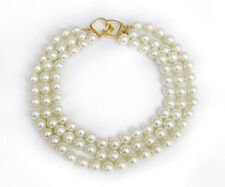 Pearl Necklace Choker Necklace Multi Strand Faux Gold Clasp Style