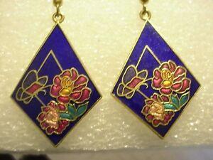 Long Dangle Cloisonné blue Flowers Butterfly Earrings