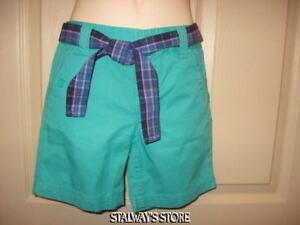 Two Pair Cherokee Bermuda Shorts Adjustable Solid  Green + Pink Plaid XS 4 5 NWT