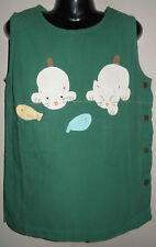 New 100% Cotton Green Dungaree Pinafore Dress Size Age Small S 4-6 Years