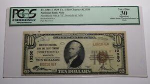 $10 1929 Northfield Minnesota MN National Currency Bank Note Bill #13350 VF30