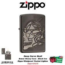 Zippo Armor, Black Ice Pocket Lighter, Deep Carve Skull #29230