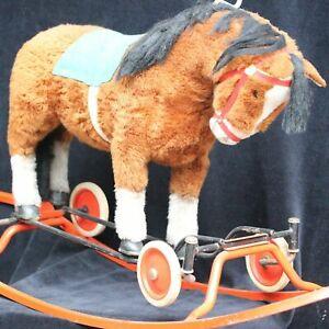 Steiff Pferd auf Rädern Rollen mit großer Schaukel  antique lage Rocking Horse