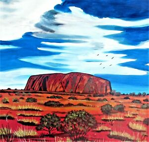 "ABORIGINAL PAINTING ""Uluru"" beautiful art acrylics on canvas COA"