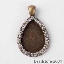 5x Antique Bronze Drop Alloy Pendant Rhinestones Cabochon Settings 25x18mm Tray