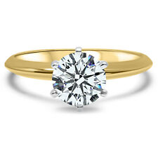 14K Yellow Gold Cubic Zirconia engagement ring, solitaire engagement, CZ ,1CT