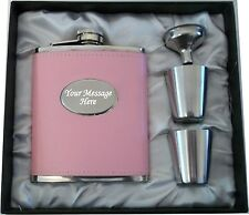 Engraved  7oz Pink  Hip Flask Gift Boxed Personalised Gift