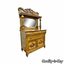 Antique Victorian Golden Quartered Oak Carved Mirror Sideboard Server Buffet