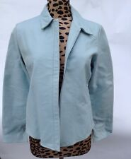 Jacket-Leather-Women's-Banana Republic-Size M-Solid Light Blue-Full Cut