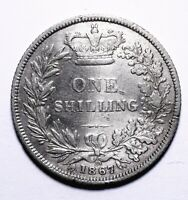 1867 UK One 1 Shilling VG  - Victoria Young Head - Lot 629