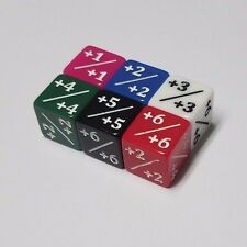 6x Rainbow quEmpire Counter Dice +1/+1 to +6/+6 (1 of each color) MTG CCG