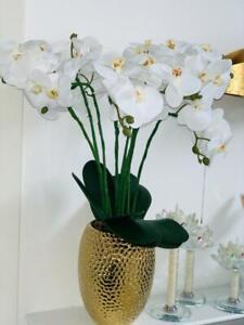 LUMIDA Flora prachtvolle Orchidee Designtopf inkl. 12 LEDs Timer,gold  677-286