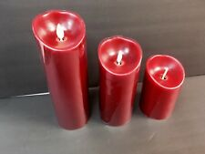 Luminara Moving Wick Flameless Candle Set 3 Candle Remote Red Real Effect Flame