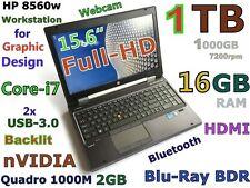(3D-Design FHD) HP 8560w i7-2.8GHz(Blu-Ray 1TB 16GB) 15.6 nVIDIA-2GB Backlit FP
