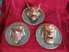 Vintage 3 Rare Japanese Folk Art Sculpture Masks on Wooden Plaques Evil Mask