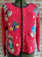 Vintage Nutcracker Brand Ugly Christmas Button Sweater AdorableTeddy Bear Sz S