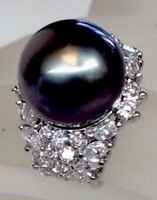 15mm South Sea Pearl 2.96ct Genuine Diamond Cocktail Ring Solid 14K White Gold