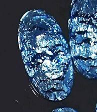 Rare MURANO BLUE SILVER FOIL GLASS STONE old high quality  30 X 15 MM 1 Vintage