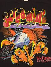 Vintage Screamin' Eagle T-shirt Six Flags Roller Coaster Amusement Park Ride USA