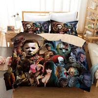 3D Horror Film Quilt Cover Duvet Cover Comforter Cover Single/Queen/King 3pc 023