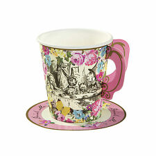 12 x Vintage Style Truly Alice in Wonderland Cups Saucers Mad Hatters Tea Party