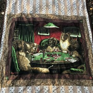 Handmade Dogs Playing Poker CM Coolidge Quilt 71 X 51 Playing Cards Floral