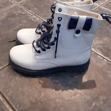 Ladies Golddigga White Patient Boots, Uk Size 5.5 In VGC