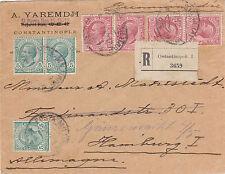 LEVANTE-Tre 5c+quattro 10c(81+82-Raccomandata Costantinopoli->Amburgo 27.12.1919