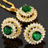 Green Emerald Round Cut Necklace Pendant Earrings Gemstone 18K GP Jewelry Set