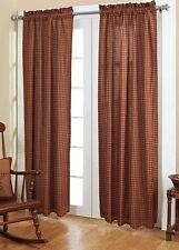 BURGUNDY CHECK PANEL SET : PRIMITIVE TAN RED PLAID COUNTRY CURTAIN DRAPES