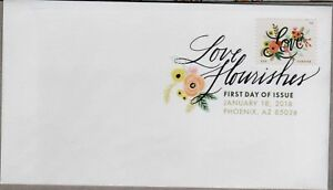 US LOVE FLOURISHES 2018 SCOTT 5255 BOUQUET OF ROSES FOREVER STAMP DCP FD COVER