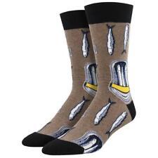 Socksmith Men's Crew Socks Packed In Sardine Fish Brown Novelty Footwear