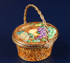 Rochard Limoges Hand Painted Hinged Trinket Box, Fruit Picnic Basket with Handle